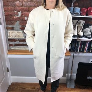 Vintage Beige Snap Button Midi Overcoat Size 6/8